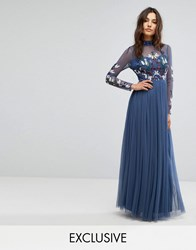 Maya Long Sleeved Maxi Dress With High Neck And Embellishment Navy