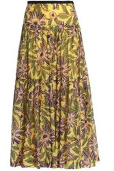 Red Valentino Pleated Floral Print Cotton And Silk Blend Mousseline Maxi Skirt Yellow