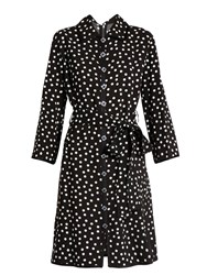 Dolce And Gabbana Polka Dot Print Crepe Dress Black White