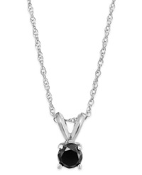 Macy's Black Diamond Round Pendant Necklace In 10K White Gold 1 6 Ct. T.W.