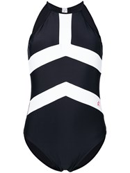 Perfect Moment Contrast Stripe Detail One Piece Black