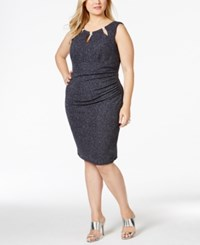 Betsy And Adam Plus Size Metallic Ruched Sheath Dress Gray