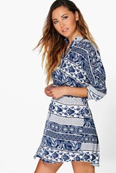 Boohoo Paisley Print Shirt Dress Blue