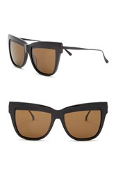 Bottega Veneta 53Mm Cat Eye Sunglasses Black Black Brown