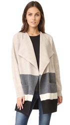 Madewell Striped Sweater Coat Heather Sable