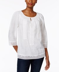 Charter Club Linen Lace Trim Peasant Top Only At Macy's Bright White