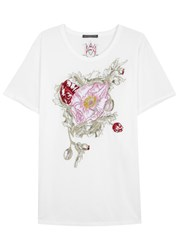 Alexander Mcqueen White Floral Embroidered Cotton T Shirt