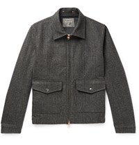 Private White V.C. Woolmark Prince Of Wales Checked Merino Wool Bomber Jacket Gray