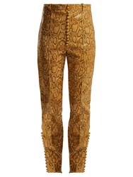 Hillier Bartley Faux Python Slim Leg Trousers Beige Print