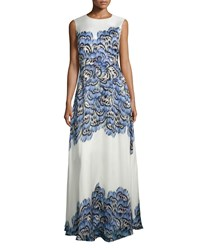 Lela Rose Sleeveless Feather Print Silk Gown Blue Size 6