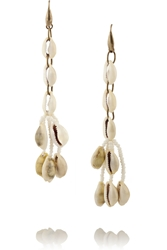 Isabel Marant Gold Tone Shell And Ceramic Bead Earrings