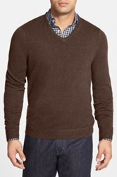 John W. Nordstrom Cashmere V Neck Sweater Regular And Tall Brown
