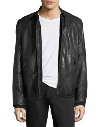 Andrew Marc New York Lambskin Leather Cafe Racer Jacket Jet Black