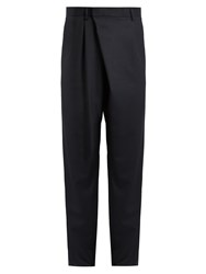 Kolor Relaxed Fit Pleat Front Wool Trousers Navy
