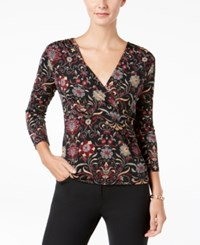 Charter Club Petite Printed Faux Wrap Top Created For Macy's Deep Black Combo