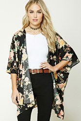 Forever 21 Contemporary Floral Kimono Black Pink
