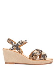 A.P.C. Judith Python Embossed Leather Wedge Sandals White Multi
