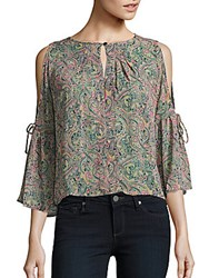 Romeo And Juliet Couture Cold Shoulders Paisley Print Top Multicolor