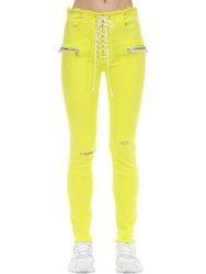 Unravel Lace Up Cotton Blend Skinny Jeans Yellow