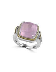 Effy 925 Diamond Rose Quartz 18K Yellow Gold And Sterling Silver Ring