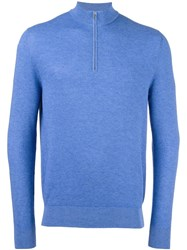 Loro Piana Zip Collar Jumper Blue