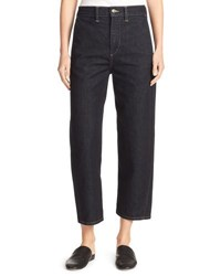 Vince High Rise Utility Cropped Denim Jeans Resin Rinse Wash Blue