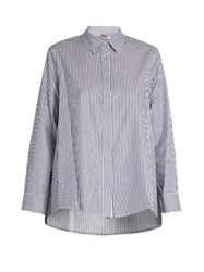 Adam By Adam Lippes Striped Cotton Poplin Shirt Blue White
