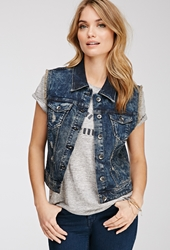 Forever 21 Distressed Denim Vest Denim Washed