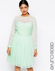 Asos Curve Exclusive Midi Dress With Embellished Trim Mint