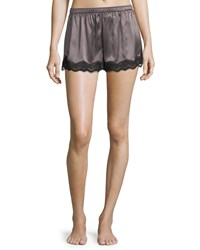 Neiman Marcus Lace Trimmed Silk Shorts Gray