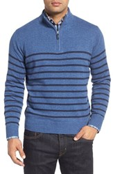 Peter Millar Men's Stripe Wool Quarter Zip Sweater
