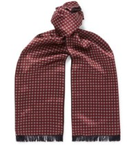 Brioni Reversible Fringed Floral Print Silk And Cashmere Scarf Burgundy