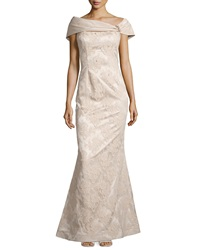 Teri Jon Beaded Lace Off The Shoulder Gown Champagne