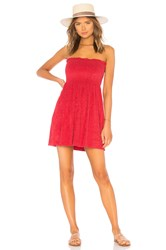 Indah Mercy Strapless Mini Dress Red
