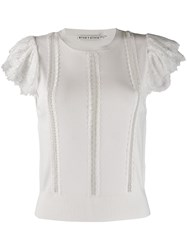 Alice Olivia Rosio Lace Detail Top White