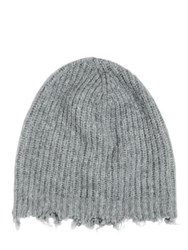 Msgm Distressed Wool Blend Beanie Hat