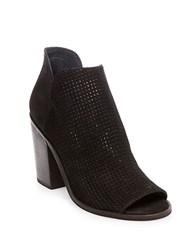 Steve Madden Tala Perforated Leather Open Toe Booties Black