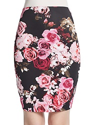 Saks Fifth Avenue Red Floral Print Scuba Pencil Skirt Pink Floral