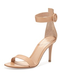 Gianvito Rossi Leather Ankle Strap Simple Sandal Nude Brown