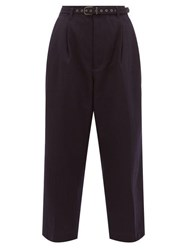 Chimala High Rise Wool Blend Twill Cropped Trousers Navy