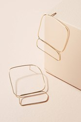Anthropologie Hollow Square Drop Earrings Gold