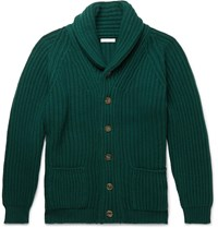 Anderson And Sheppard Shawl Collar Ribbed Cashmere Cardigan Green