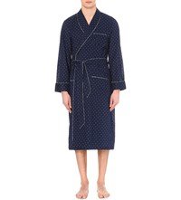Derek Rose Nelson 53 Cotton Dressing Gown Navy