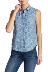 French Connection Sleeveless Print Shirt Blue