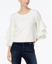 Inc International Concepts Ruffled Cropped Sweater Only At Macy's Washed White