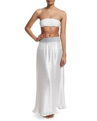 Marie France Van Damme Bright Metallic A Line Maxi Skirt Coverup Size 0 2 4 White Metallic