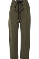 Marni Cotton And Linen Blend Gabardine Tapered Pants Army Green