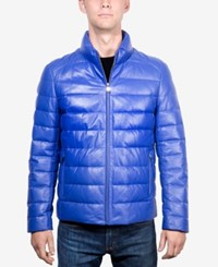 Boston Harbour Men's Packable Leather Puffer Jacket Royal Blue