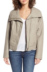 Bernardo Women's Wing Collar Faux Leather Moto Jacket Silky Taupe