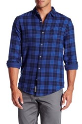 Original Penguin Long Sleeve Plaid Flannel Slim Fit Shirt Blue